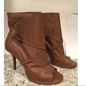 Max Azria// Wrap Leather Booties Open Toe, size 38